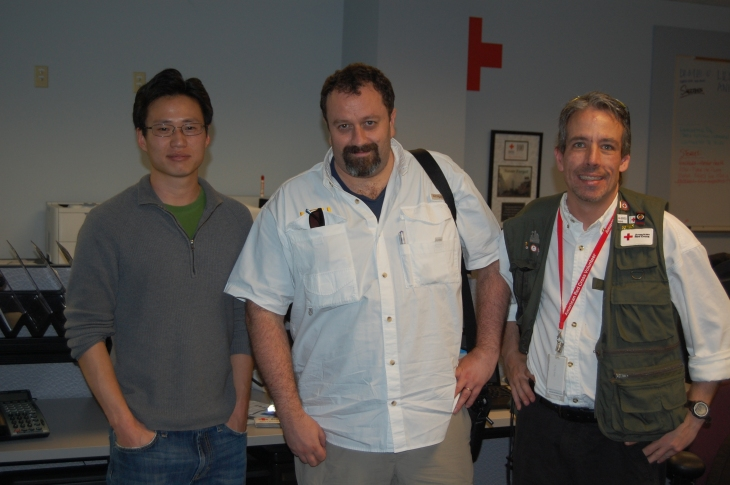 Myself with two GIS researchers from University of Southern California.  We had just returned from a survey of damaged areas following April 3rd tornadoes using their geocoded video system.