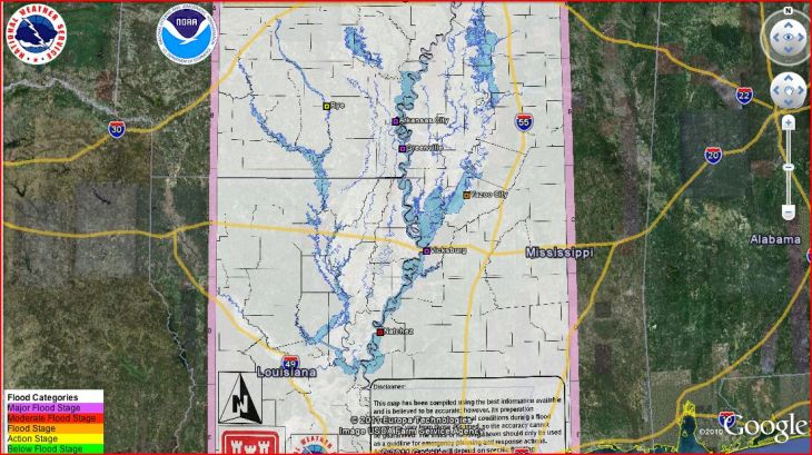 Here is a Google Earth screenshot showing an overlay of USACE flood projection.  Used this during April/May deployment  2011. Very useful when planning for a flood.  Incoming DA Manager preferred wall maps.  He wanted to have a street level wall map of the potential affected area.  Eventually it dawned on him (slowly) such a map would be the size of a gymnasium floor.....by that time my flight home was already booked.