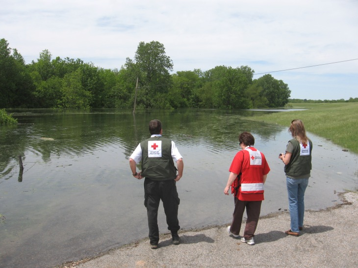 "With ARC DRO April/May 2011.  Two hour drive to verify inaccessibility of flooded area...Here we are doing our verification of the only road into the area...""Yep, it's flooded alright..."""