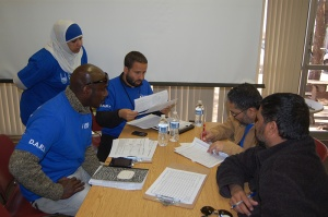 Some of the volunteers from Islamic Relief USA, a National Partner of the American Red Cross, working hard in this past weekend's TX/OK Disaster Assessment exercise.  This is at the ARC Branch office in McKinney TX, where I introduced future DA Supervisors to the joys of running a small DA Operation...