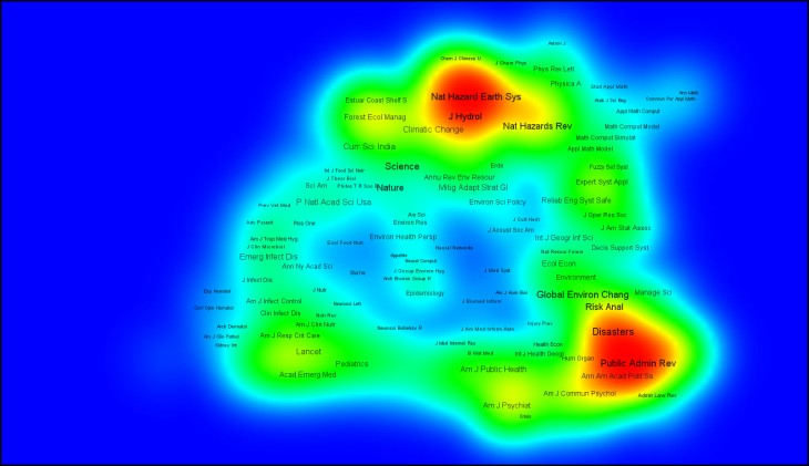 Density view of the same map, show greatest intensities over what I identify as our field's Hazard Sciences Branch, and our Human Dimensions Branch.