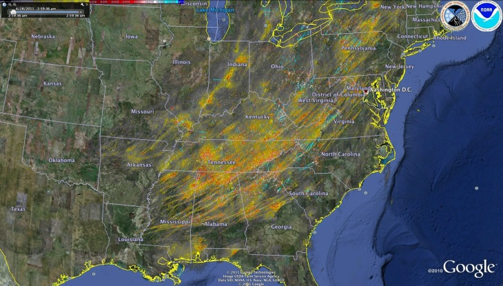 Archive data from the NSSL's Warning Decision Support System-Integrated Information (WDSS-II) showing storm rotation tracks of rotating supercells across the Southeast on April 27, 2011
