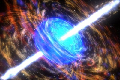 Artist's conception of what a gamma-ray burst might look like as it erupts from the collapsing core of a once-massive star...(http://www.nasa.gov/centers/goddard/news/topstory/2003/0618rosettaburst.html)